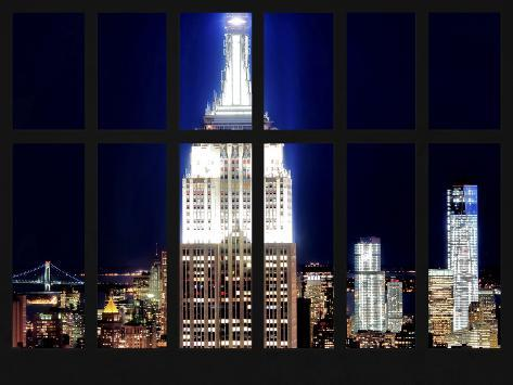 Window View - View of the Empire State Building and 1 WTC by Night - Manhattan - NYC Reproduction photographique
