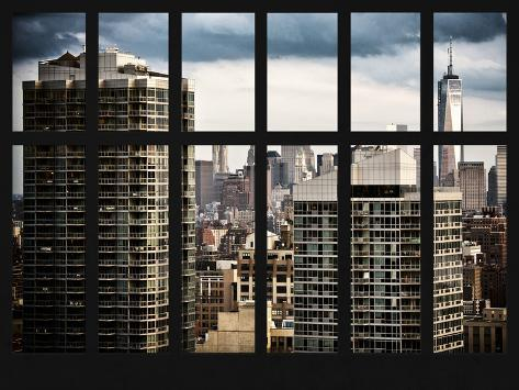 Window View with the One World Trade Center (1WTC) - Manhattan - New York City Reproduction photographique