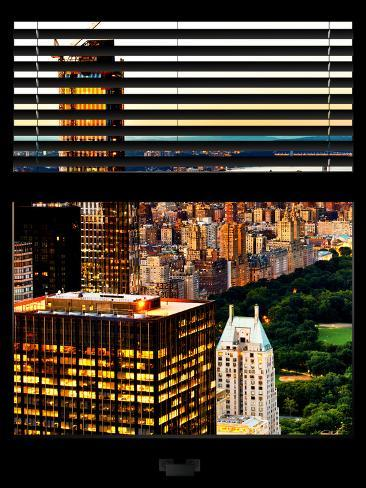 Window View with Venetian Blinds: Central Park and upper West Side Buildings Reproduction photographique
