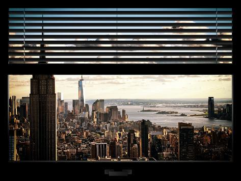 Window View with Venetian Blinds: Cityscape Manhattan with Empire State Building (1 WTC) Reproduction photographique