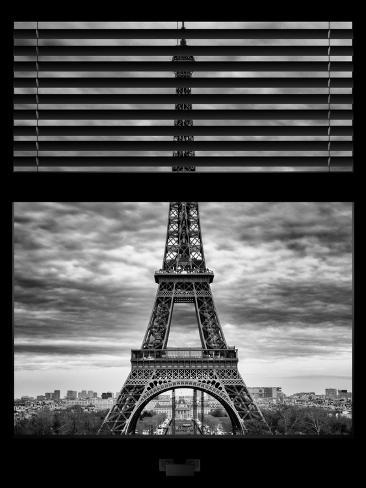 Window View with Venetian Blinds: Eiffel Tower and the Champ de Mars - Paris, France Reproduction photographique