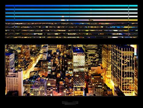 Window View with Venetian Blinds: Landscape View by Night Reproduction photographique