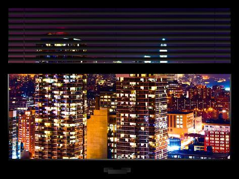 Window View with Venetian Blinds: Skyscrapers and Buildings at Manhattan by Night - Downtown City Reproduction photographique