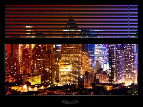 Window View with Venetian Blinds: Skyscrapers and Buildings at Times Square by Night - Manhattan Reproduction photographique