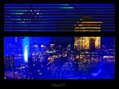 Window View with Venetian Blinds: Special Series Blue Reflections - Haussmann Appartment Paris Reproduction photographique