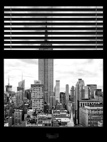 Window View with Venetian Blinds: the Empire State Building View - Manhattan Reproduction photographique