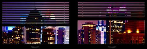 Window View with Venetian Blinds: Tops of Skyscrapers and Buildings at Times Square by Night Reproduction photographique