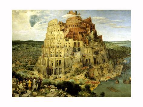 La Tour de Babel, vers1563 Reproduction procédé giclée