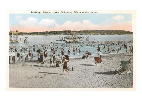 Plage, Lake Nokomis, Minneapolis, Minnesota Reproduction d'art