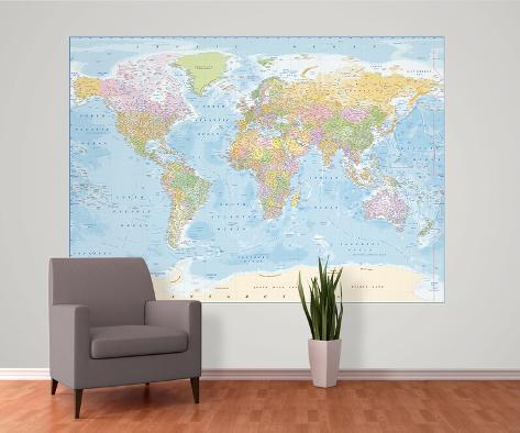 political world map reproduction murale g ante papier peint sur. Black Bedroom Furniture Sets. Home Design Ideas