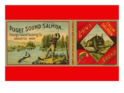 Puget Sound Salmon Can Label Reproduction giclée Premium