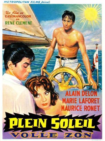 Purple Noon, Belgian Movie Poster, 1964 Reproduction d'art
