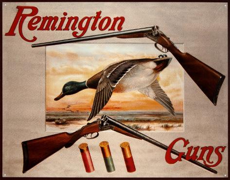 Remington Arms 2 Shotguns & Ducks Plaque en métal