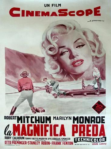 River of No Return, Italian Movie Poster, 1954 Reproduction d'art