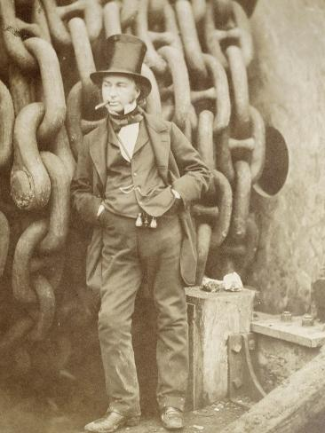 Isambard Kingdom Brunel (1806-1859) at Millwall, Leaning Against a Chain Drum, November 1857 Reproduction procédé giclée