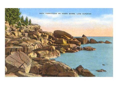 Rochers sur la rive nord du Lac Supérieur, Minnesota Reproduction giclée Premium