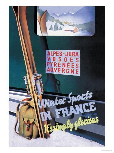 Sports d'hiver en France Reproduction d'art
