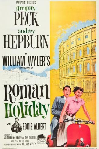 Roman Holiday, Eddie Albert, Gregory Peck, Audrey Hepburn, 1953 Reproduction d'art