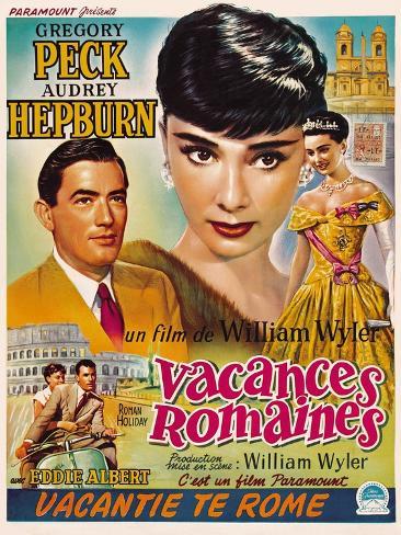 Roman Holiday, Gregory Peck, Audrey Hepburn, 1953 Reproduction giclée Premium