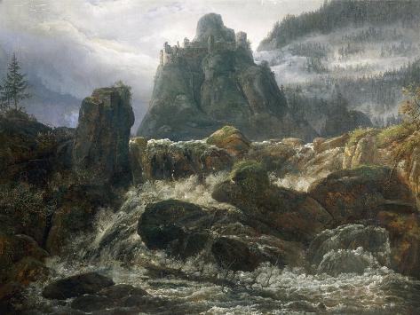 Romantic Ruins with Torrent, Painted by Johan Christian Clausen Dahl Reproduction procédé giclée