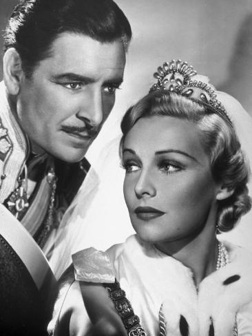 Ronald Colman et Madeleine Carroll : Le Prisonnier de Zenda, 1937 Reproduction photographique