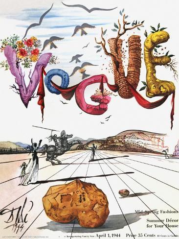 Vogue Cover - April 1944 - Dali's Surealist Vogue Reproduction procédé giclée