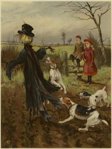 Scarecrow Being Attacked by a Pack of Dogs as a Boy and Girl Watch Reproduction procédé giclée