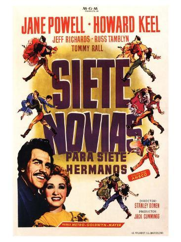 Seven Brides for Seven Brothers, Spanish Movie Poster, 1954 Reproduction d'art