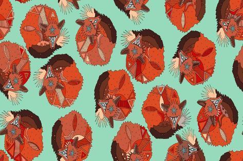 Curled Fox Polka Mint Reproduction d'art