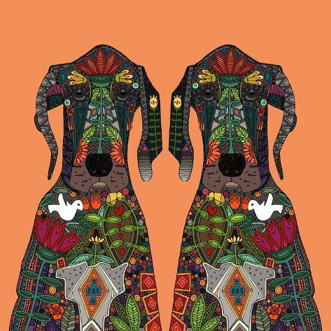 Great Dane Love Tangerine Reproduction d'art