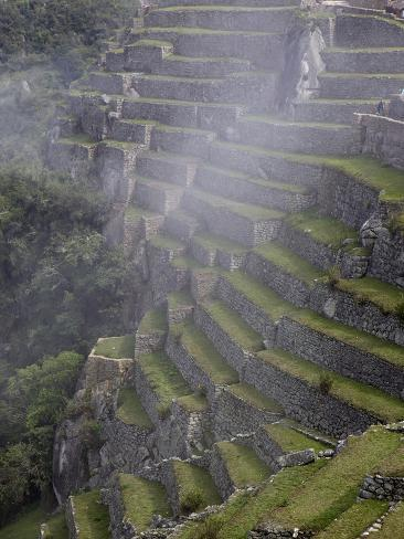 Agricultural Terraces in the Inca City, Machu Picchu, UNESCO World Heritage Site, Peru, South Ameri Reproduction photographique