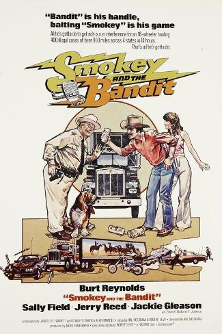 Smokey and the Bandit, from Left: Jackie Gleason, Burt Reynolds, Sally Field, 1977 Reproduction d'art