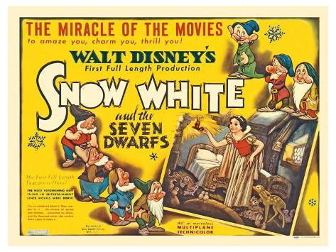 Snow White and the Seven Dwarfs, UK Movie Poster, 1937 Reproduction giclée Premium