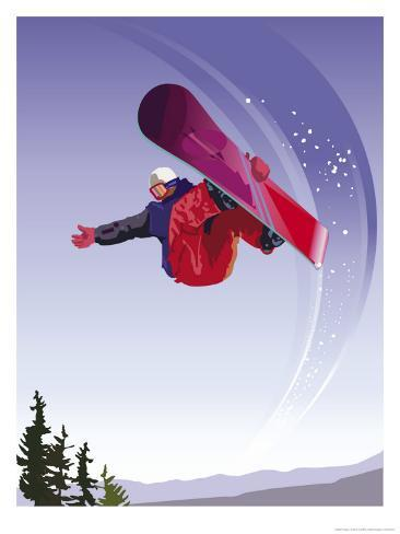 Snowboarder Reproduction d'art