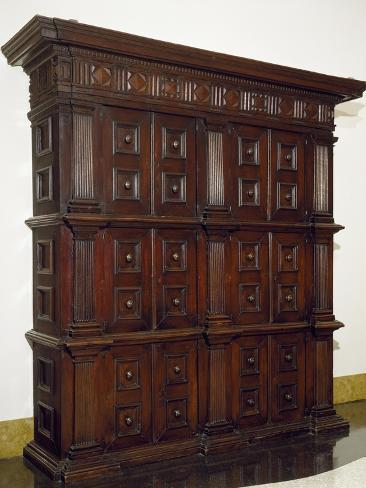 Solid Walnut with Carved Base and Compartments, Italy, 16th Century Reproduction procédé giclée