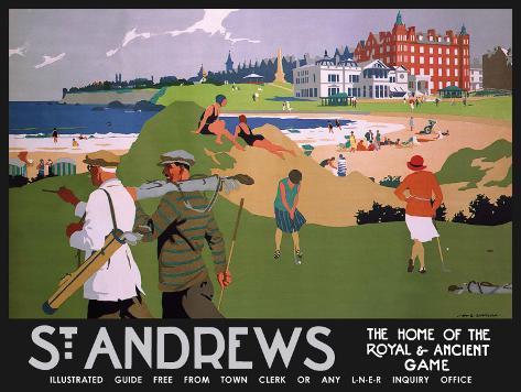 St Andrews (black) Plaque en métal