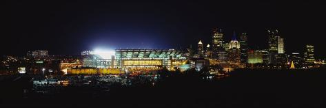 Stadium Lit Up at Night in a City, Heinz Field, Three Rivers Stadium, Pittsburgh, Pennsylvania, USA Reproduction photographique