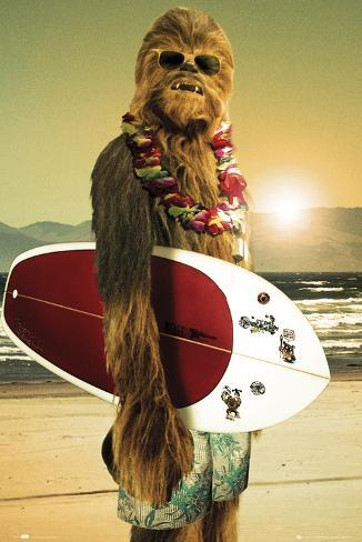 Star Wars, Chewbacca surfeur Poster