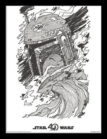 Star Wars, La Guerre des Étoiles, 40e anniversaire - Boba Fett Reproduction encadrée pour collectionneurs