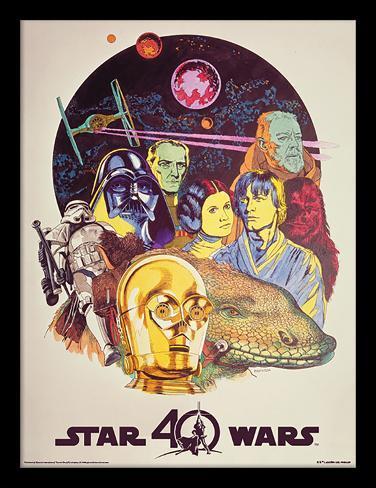 Star Wars, La Guerre des Étoiles, 40e anniversaire - Personnages, format portrait vertical Reproduction encadrée pour collectionneurs