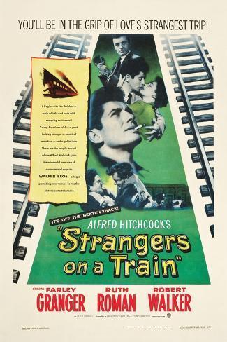 STRANGERS ON A TRAIN, Farley Granger, Robert Walker, Ruth Roman, 1951 Reproduction d'art