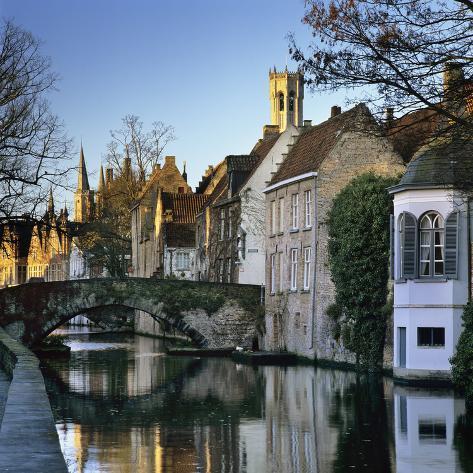 Canal view with belfry in winter bruges west vlaanderen - Office du tourisme bruges belgique adresse ...