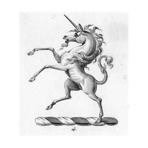 Stylized Standing Unicorn Symbol Reproduction d'art