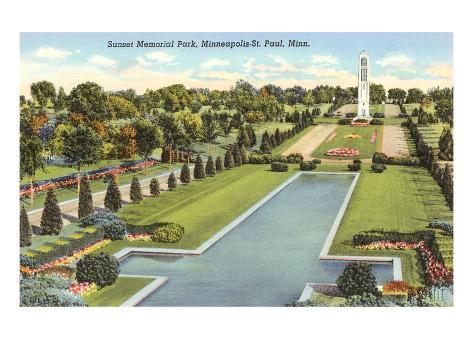 Sunset Memorial Park, St. Paul, Minnesota Reproduction d'art
