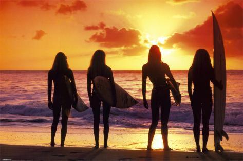 Surf et coucher de soleil Poster