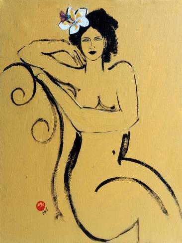 Yellow Seated Nude with White Flower and Bird Reproduction procédé giclée