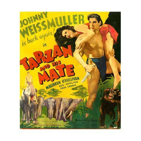 TARZAN AND HIS MATE, from left: Maureen O'Sullivan, Johnny Weissmuller, 1934. Reproduction d'art