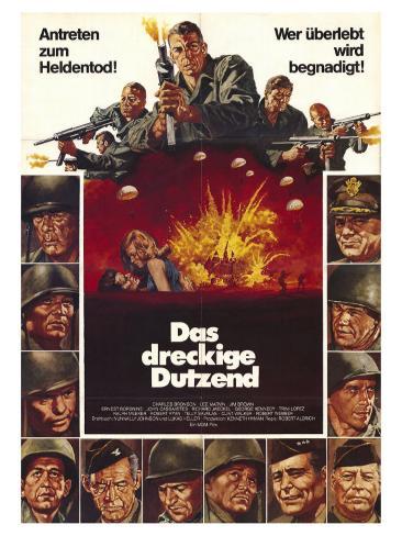 The Dirty Dozen, German Movie Poster, 1967 Reproduction d'art