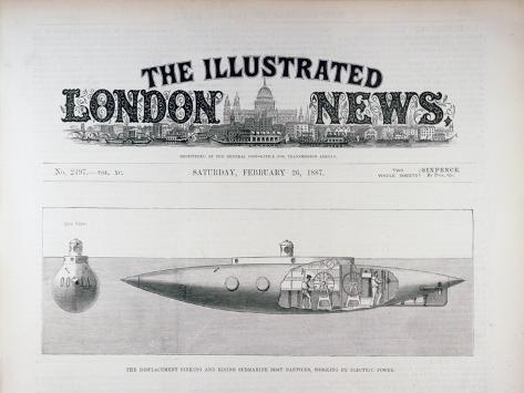 The Displacement Sinking and Rising Submarine Boat 'Nautilus', Working by Electric Power Reproduction procédé giclée