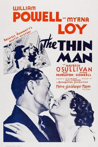 The Thin Man, William Powell, Myrna Loy, 1934 Reproduction d'art